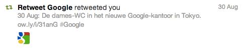 Google retweeted me